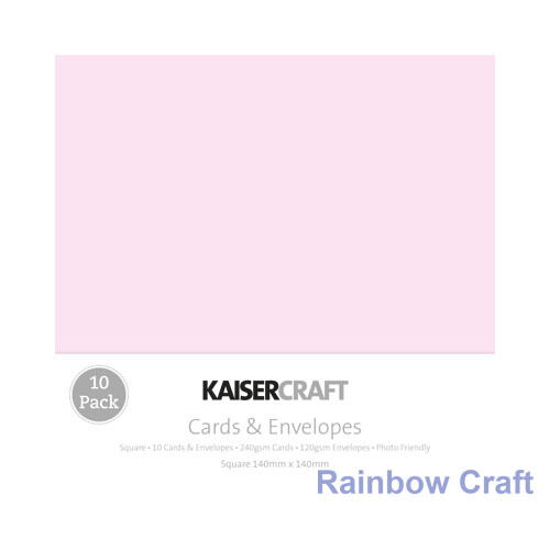 Kaisercraft 10 blank Cards & Envelopes Square / C6 size (12 selections) - Pink