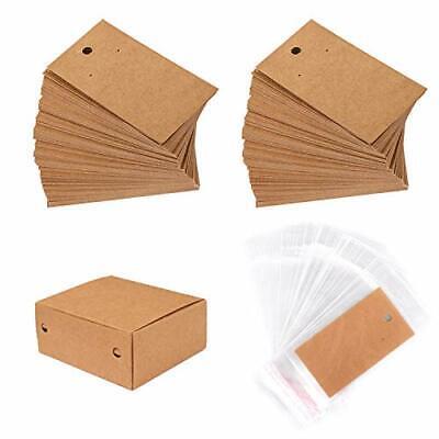 200 Set Earring Display Card W Pcs Self Seal Bags Holder Blank Craft Paper Brown