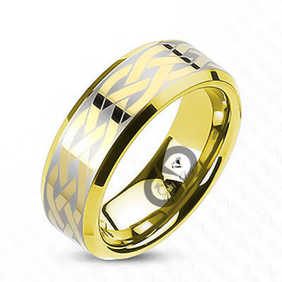 - Tungsten Carbide Gold IP Brushed Laser Etched Celtic Knot Design Wedding Ring