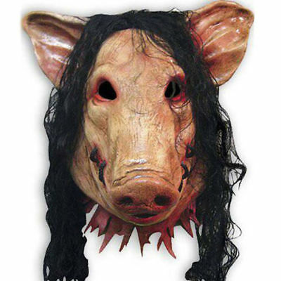 Halloween Cosplay Creepy Animal Prop Latex Party Unisex Scary Pig Head Mask&Hair](Scary Halloween Animations)