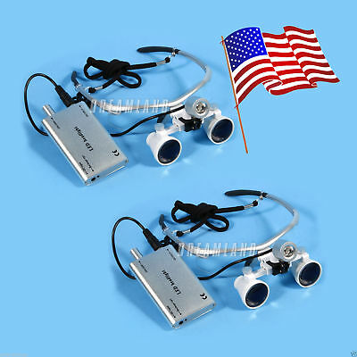Usa Dental 3.5x Surgical Binocular Loupes Magnifier Glasses Led Headlight Lamp
