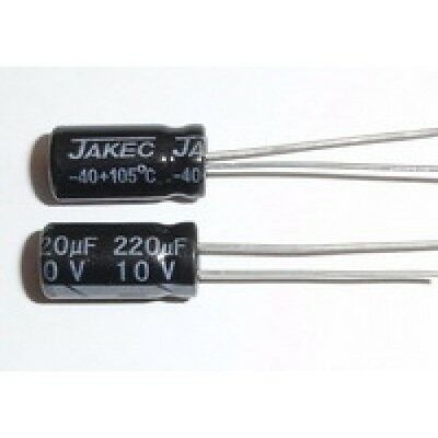 E-projects - 220uf 10v 105c Radial Electrolytic Capacitor 5 Pcs