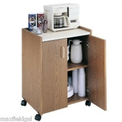 CLOSEOUT !! Safco Mobile Refreshment Utility Cart Shelf casters, Med. Oak