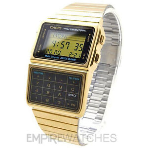 NEW-CASIO-DATABANK-CALCULATOR-RETRO-GOLD-WATCH-DBC-611G-IDF-RRP-75