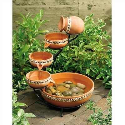 Terracotta 5 Tier Cascading Bowls Solar Water Fountain Outdoor Garden Bird Bath