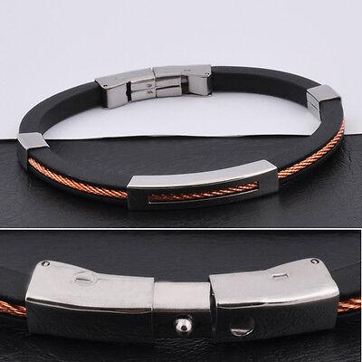 """Unisex Men Women's Stainless Steel Rubber Silicone Bracelet black 8.5"""" G11"""