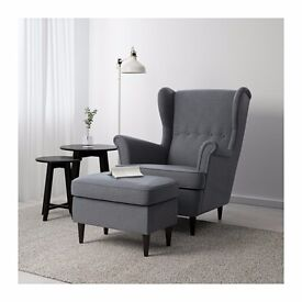 Grey IKEA 'Strandmon' armchair still in the box with footstool in central Cambridge