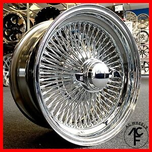 15x7 STANDARD 100 SPOKE WIRE WHEELS STRAIGHT LACE CHROME RIMS (4pcs)
