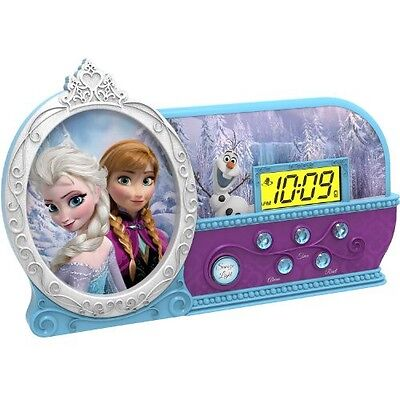 Kids Musical FROZEN ALARM CLOCK + Night-Light Anna+Elsa Bed Room Bedding Decor
