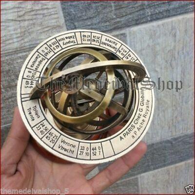 Vintage Brass Armillary Sphere Astrolabe On Wooden Base Maritime Handmade GIFT