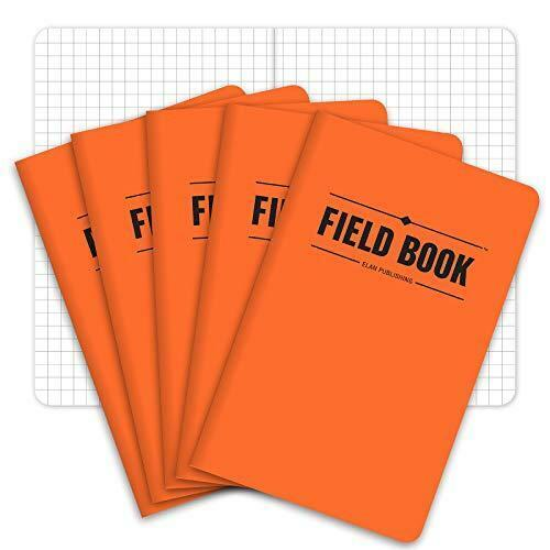 "Field Notebook/Pocket Journal - 3.5""x5.5"" - Orange - Graph Memo Book - Pack of 5"