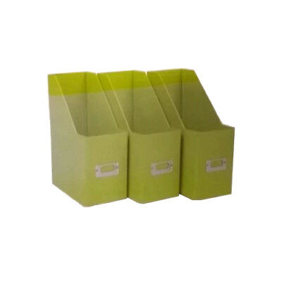 Colour Match Magazine Paper Files Tidy Box Set Of 3 Card Filers Apple Green A4