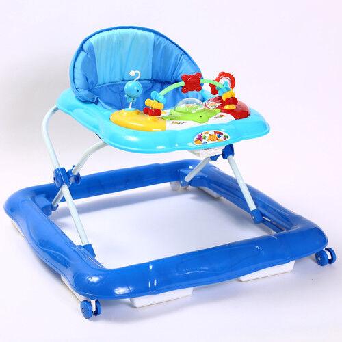 Kidmeister Gehfrei Baby Walker Lauflernhilfe mit  Musik Spielstation 3 Farben Blau