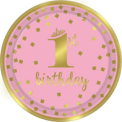 1st BIRTHDAY Pink and Gold LARGE PAPER PLATES (8) ~ Party Supplies Luncheon Girl - Pink And Gold Birthday Party Supplies