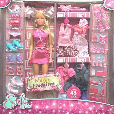 Simba Steffi Love Puppe 45 tlg. Mega Fashion Schuhe Kleider Taschen Kleid, Fashion Kleid