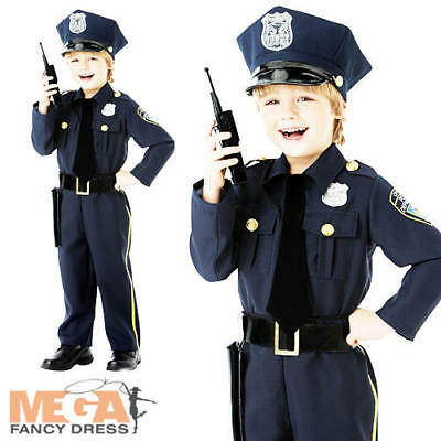 Policeman Officer + Hat Boys Fancy Dress Police Cop Uniform Kids Childs Costume - Boys Police Hat