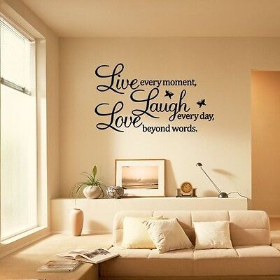 Home Wall Decals (Love Every Moment Laugh Live Wall Sticker Decals Mural Art Room Home Decor)