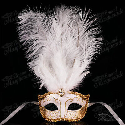 White/Gold Venetian Feather Mask with Ostrich Feather -  Masquerade Mask - Masquerade Mask With Feathers