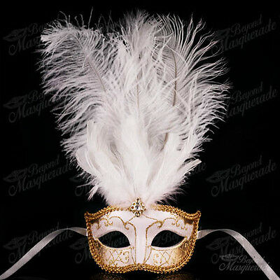 White/Gold Venetian Feather Mask with Ostrich Feather -  Mas