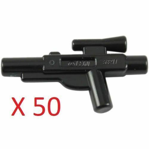 Lego Star Wars Lot of 50 Short Blaster Black Gun Weapons Accessories