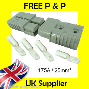 Anderson Style Plug SB 175 AMP Battery Connector Slave Jump Pair GREY 25mm2 175A