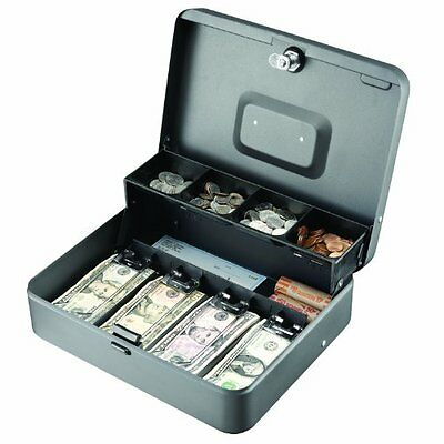 Steelmaster Tiered Tray Cash Box - 4 Bill - 5 Coin - Steel - Gray - 3.2 Height