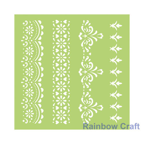Kaisercraft Mini Designer Templates Stencils Blossom Christmas Holly Leaves - 6 * 6 Lace Borders