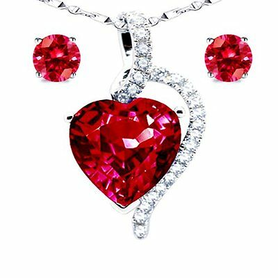 925 Sterling Silver Created Ruby Heart Pendant Necklace Earring Jewelry Set