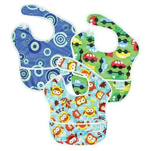 Bumkin SuperBib 3 Pack: Owl, On The Go, & Blue Fizz 6-24 mos