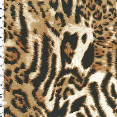 Brown/Black/White Leopard Print Knit Jersey, Fabric By The -