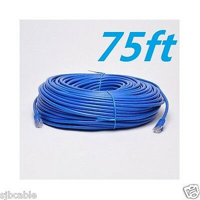 Blue New 75' FT Feet CAT6 CAT 6 RJ45 Ethernet Network LAN Patch Cable Cord Fast