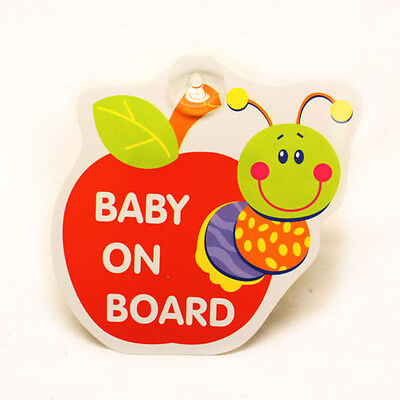 CUTE APPLE BUG BABY ON BOARD SIGN CAR WINDOW SIGN - BABY BOY BABY GIRL - NOVELTY