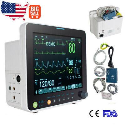 Fda 12vital Signs Patient Monitor Cardiac Monitor Ecg Nibp Resp Temp Spo2 Pr