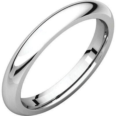 3mm 14K Solid White Gold Plain Dome Half Round Comfort Fit Wedding Band Ring 3mm Half Round Wedding Band