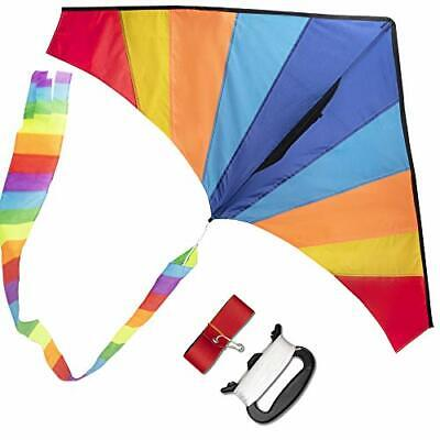 Wisestar Large Delta Rainbow Kite For Kids And Adults With 2