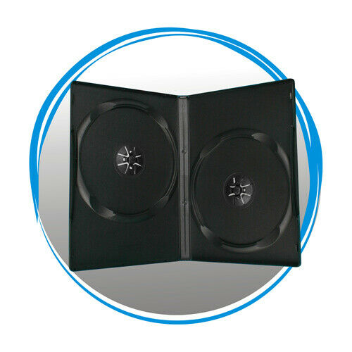 100 Standard 14mm Black Double DVD Movie Case Storage Box for CD DVD Disc