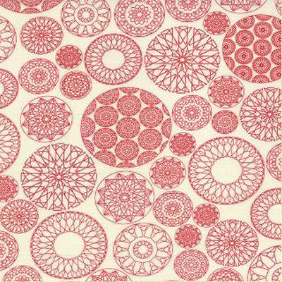 Moda Sweetwater Wishes Doilies Fabric in Vanilla Red 5531-14 100% Cotton, used for sale  Oakdale
