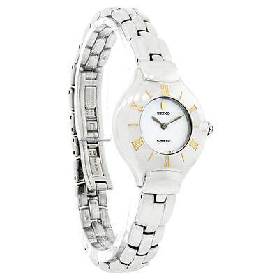 Seiko Kinetic Women's SWE002 Dress Stainless Steel Ivory Dial Watch