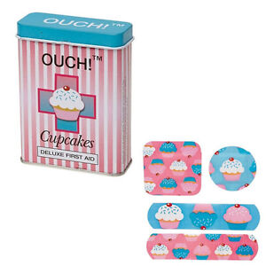 NEW-OUCH-Cupcakes-Plasters-in-First-Aid-Tin