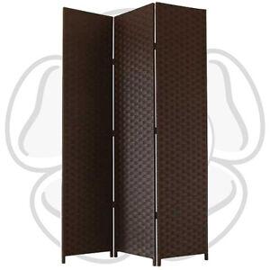 JVL Free Standing 1.72m High Folding Brown Woven Decorative Screen Room Divider