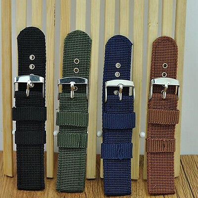 Fashion Men Nylon Fabric Universal Wrist Watch Band Casual Buckle Strap 18-24mm Jewelry & Watches