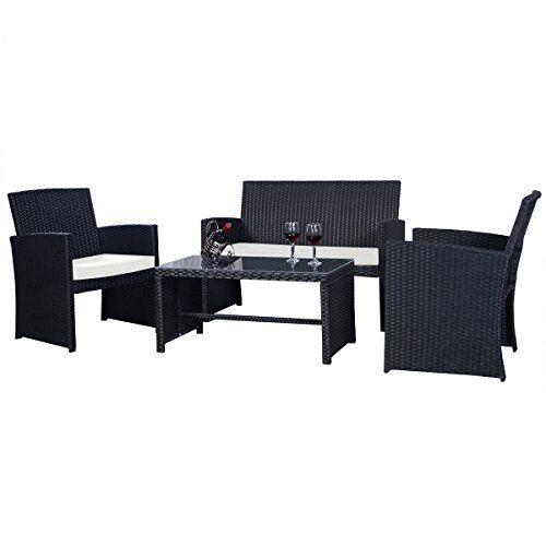 Goplus® 4 PC Rattan Patio Furniture Set Black Wicker Sofa C