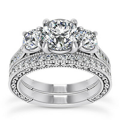GIA 2.01 CT Round Cut Diamond Engagement Ring VS2 E 14K White Gold