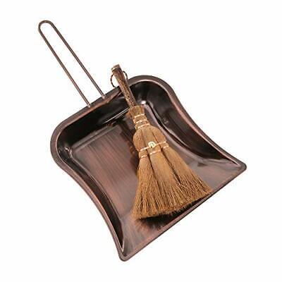 Small Metal Dustpan and Brush Set Heavy Duty Vintage Dust Pan Natural Handmad...