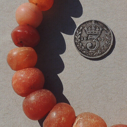 19  round ancient agate calcite stone beads mali #3832