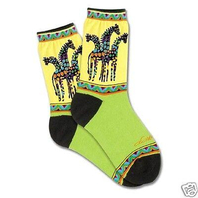 Laurel Burch K.Bell Lime Green Yellow Giraffe Ladies Pair Cotton Blend Sock - Giraffe Socks