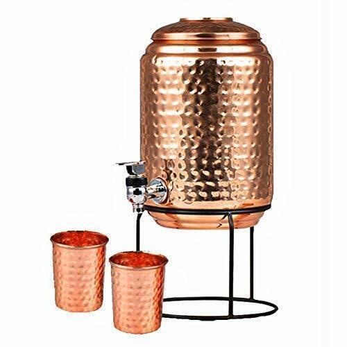 Pure Copper Water Dispenser/Matka 5 litre With Stand & 2 Copper Glass