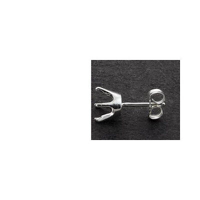 One 3mm - 8mm Round 6-Prong Solid Sterling Earring -