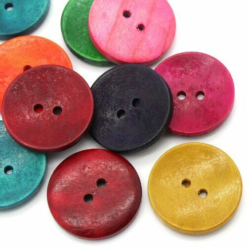 50PCs Wood Sewing Buttons Scrapbooking 2 Holes Round Mixed 3cm(1 1/8″) Dia Buttons