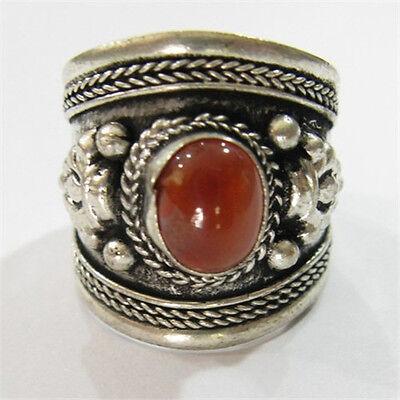 Large Adjustable Tibetan Weaving Dotted Agate Gemstone Carved Dorje Amulet Ring